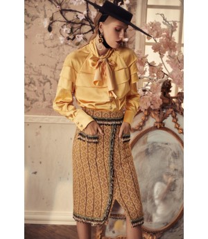 Marie Elie Yellow Bowknot Shirt