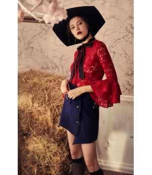 Marie Elie Red bow knot jacket