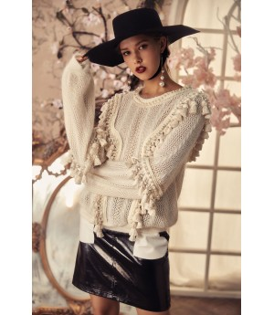 Marie Elie White Knit Sweater