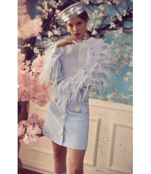 Marie Elie Blue feather sweater