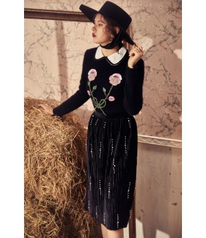 Marie Elie Pink Flower Sweater