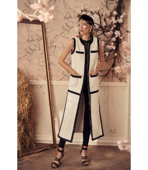 Marie Elie Sleeveless Black and White Coat