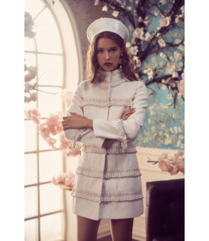 Marie Elie White Coat with Pearl