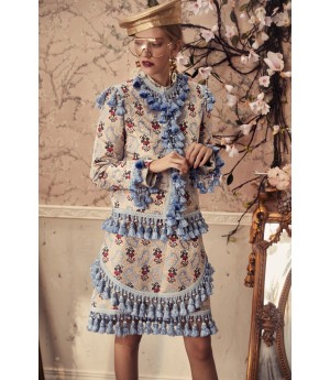 Marie Elie Blue Flower Coat