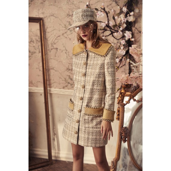 Marie Elie Gold Collar Coat