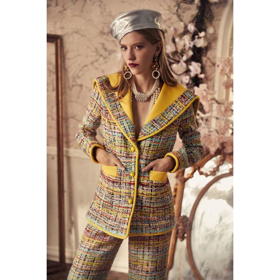 Marie Elie Yellow Collar Coat