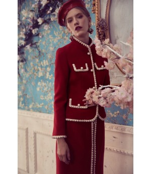 Marie Elie Red Coat with Pearl Line