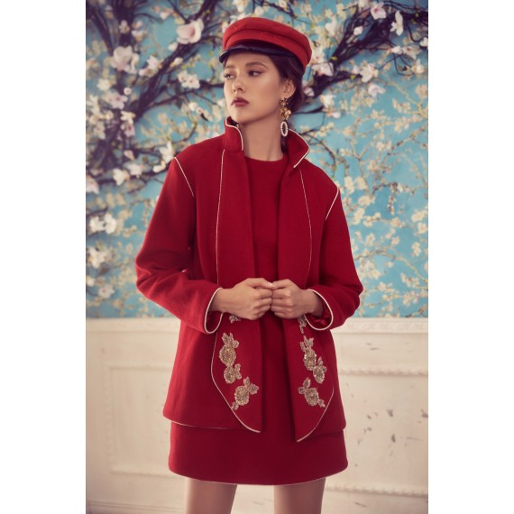 Marie Elie Red Coat with Gold Flower