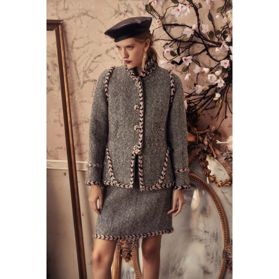 Marie Elie Grey Coat with Button