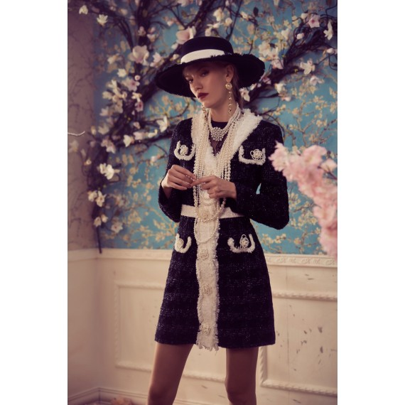 Marie Elie Black and White Flower Coat