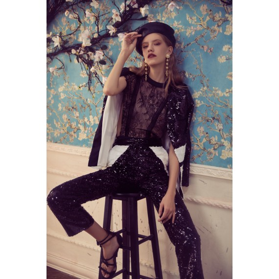 Marie Elie Black and White Lace Coat