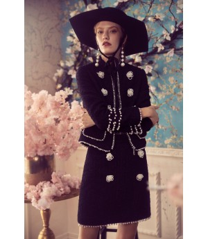 Marie Elie Black Coat with Flower Button