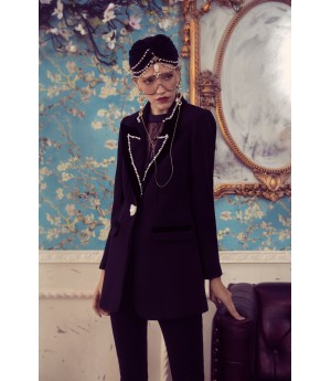 Marie Elie Black Pearl Collar Coat