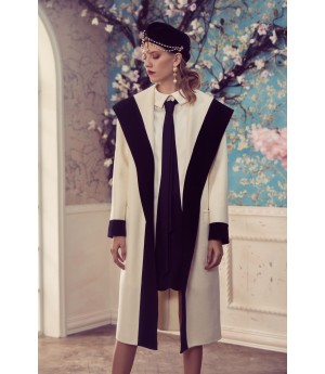 Marie Elie White Coat with Black Line