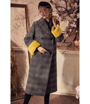 Marie Elie Grey Coat with Yellow Sleeve