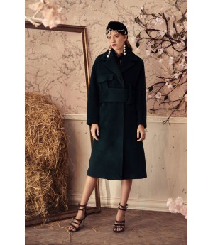 Marie Elie Green Coat with Belt