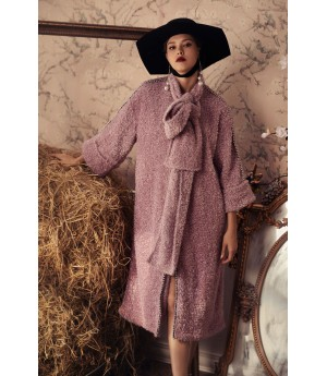 Marie Elie Pink Coat with Scarf
