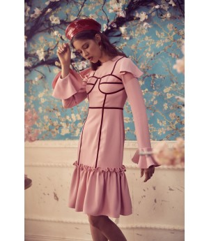 Marie Elie Pink Dress with Red Line
