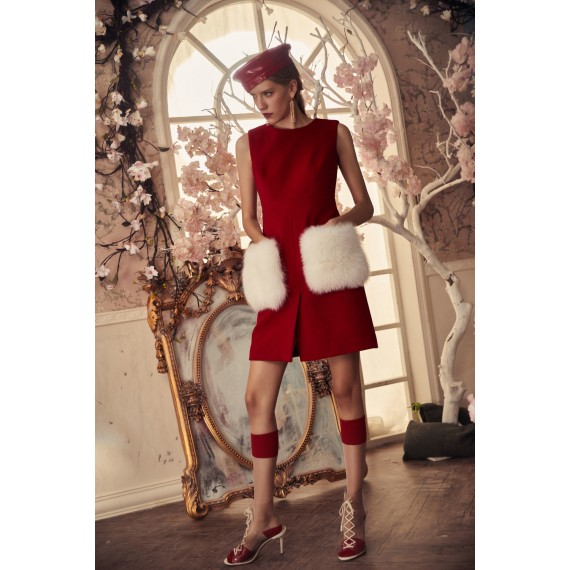 Marie Elie Red Dress with White Pocket