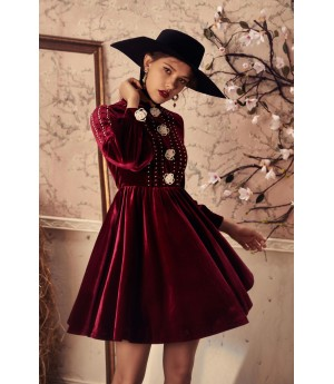 Marie Elie Red Dress with White Flower