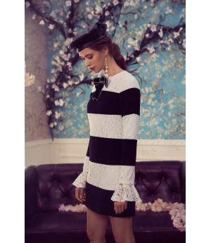 Marie Elie White and Black Bowknot Dress