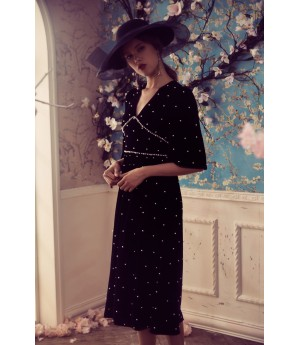 Marie Elie Pearl Velvet Dress