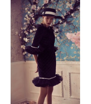 Marie Elie Black Lace Sleeve Dress