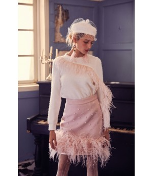 Marie Elie Pink Feather Skirt