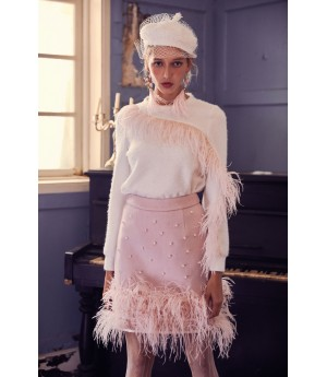Marie Elie White Feather Sweater