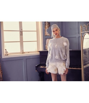 Marie Elie Gray Feather Sweater
