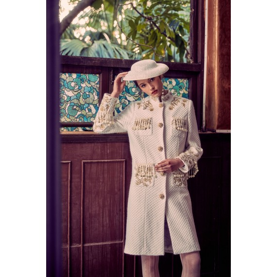 Marie Elie Beige Embroidery Coat