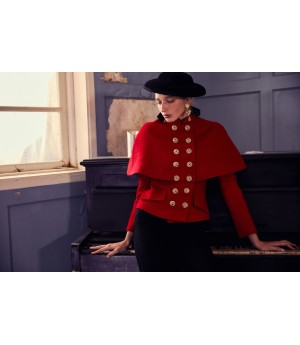 Marie Elie Red Clock Coat