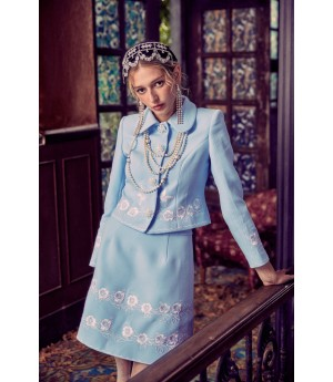 Marie Elie Lake Blue Embroidery Coat