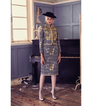 Marie Elie Gold Embroidery Coat