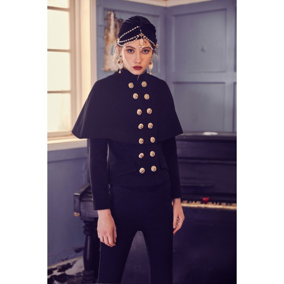 Marie Elie Black Clock Coat