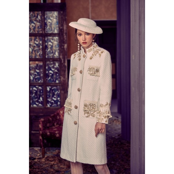 Marie Elie White Embroidery Coat