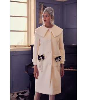 Marie Elie Silver Pearl Bow Knot Coat