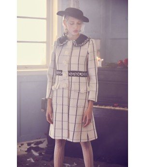 Marie Elie Black and White Woolen Coat