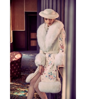 Marie Elie Flower Embroidery Woolen Coat