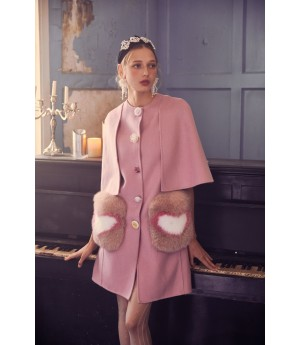 Marie Elie Pink Heat Clock Coat