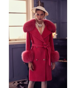 Marie Elie Red Pink Woolen Coat