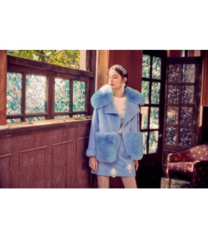 Marie Elie Blue Woolen Fox Coat