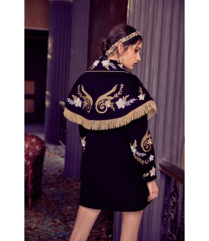 Marie Elie Black Flower Embroidery Clock Coat