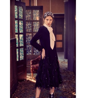 Marie Elie Black Feather Diamond Coat