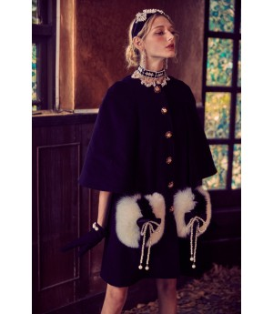 Marie Elie Black Bow Knot Clock Coat
