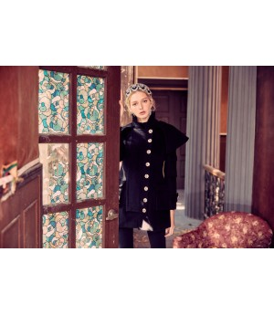 Marie Elie Black Woolen Clock Coat