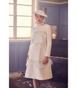 Marie Elie White Pearl Feather Dress