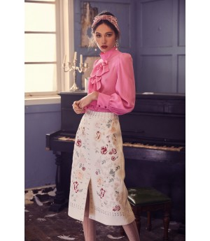 Marie Elie Iris Embroidery Skirt