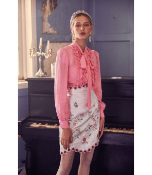 Marie Elie Pink Flower Decoration Jacket