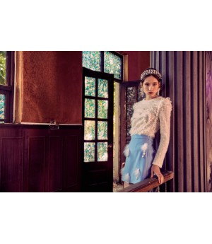 Marie Elie Blue Feather Skirt